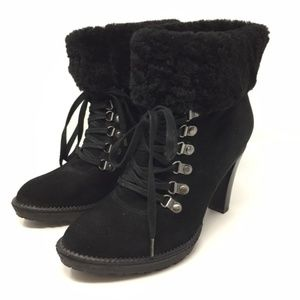 Via Spiga Shearling Cuff Lace Up Bootie Size 8